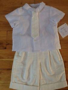 Little Darlings Spencer Bébé Garçon Blanc & Ivoire Baptême Costume 3 Mois Bnwt-afficher Le Titre D'origine