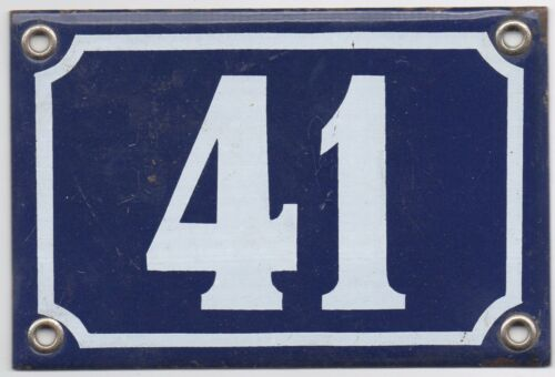 pick Old blue French house number 41 E door gate wall plate steel enamel sign