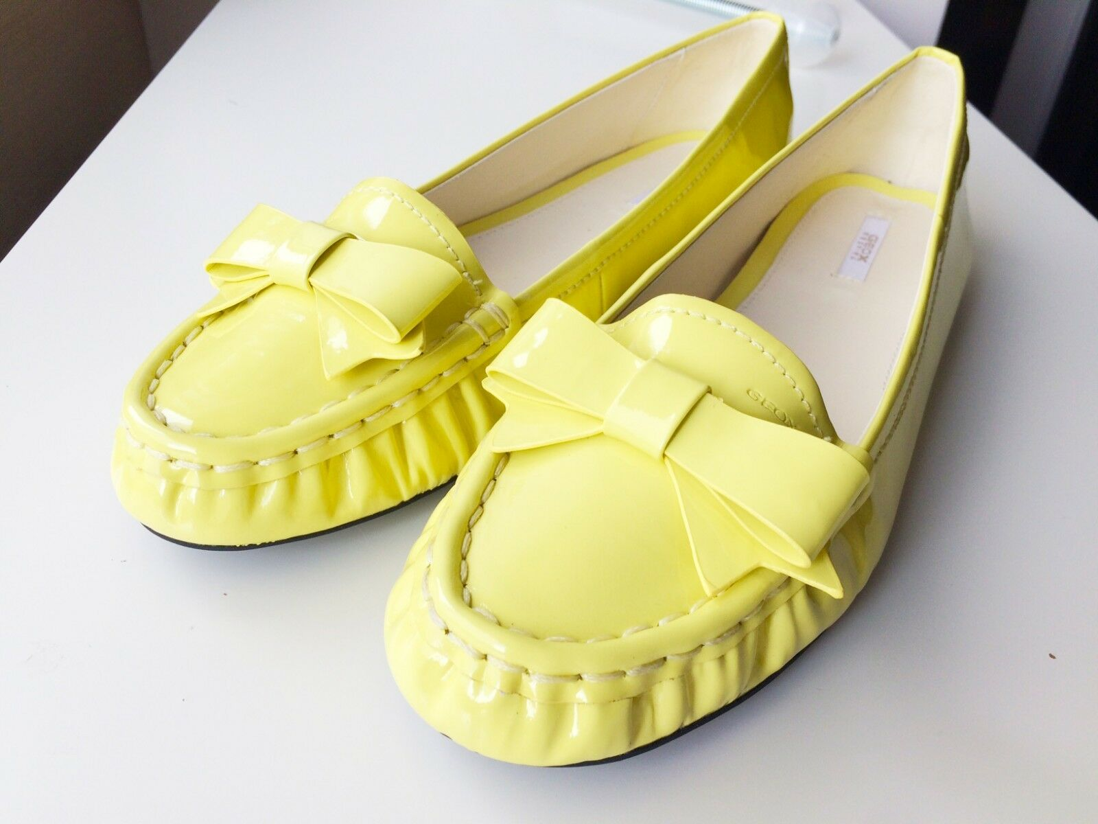 GEOX jaune woman flats LOAFERS real real real patent leather, EU 39.5, NEW, never worn be8ef2