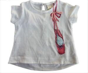 d01e3d5b ZARA Baby Girls WHITE PINK Ballet Shoes Ballerina T-Shirt Blouse Top ...