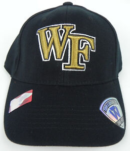 WAKE FOREST DEMON DEACONS NCAA BLACK STRETCH FLEX FIT 1-FIT TOW CAP HAT NWT!