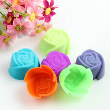 10X Fancy Silicone Rose Muffin Cup Cake Baking Mold Chocolate Jelly Maker Mould
