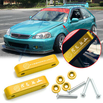 X AUTOHAUX Black Hood Vent Spacer Riser Kit with Bolts Aluminum Alloy for Honda Civic for Acura Integra