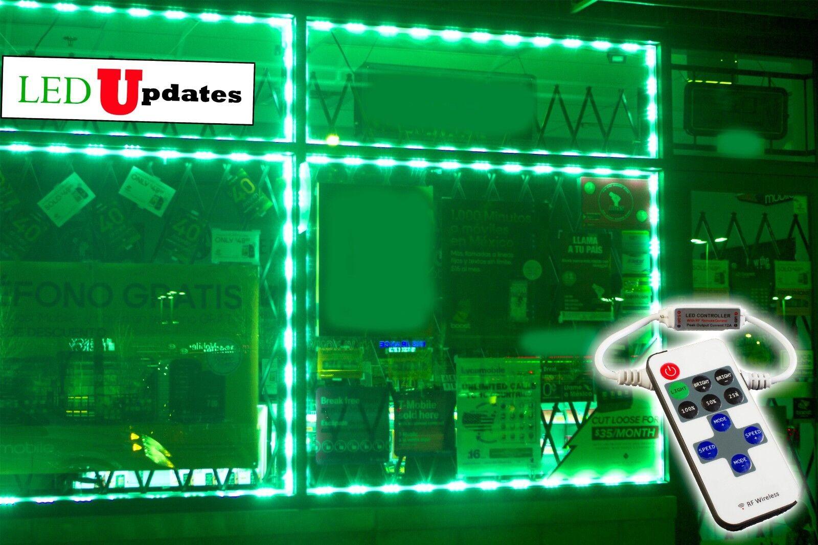 LEDUPDATES 40ft  Flash STOREFRONT WINDOW Grün LED LIGHT 5050 UL Power & Remote