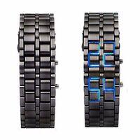 Black Digital Lava Wrist Watch Iron Metal Blue LED Metal Samurai Mens Boys L02