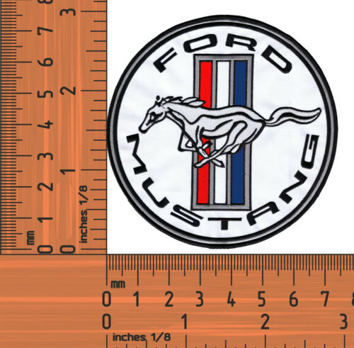 White Ford Mustang.Round Embroidered Badge Cloth Patch Iron or Sew on