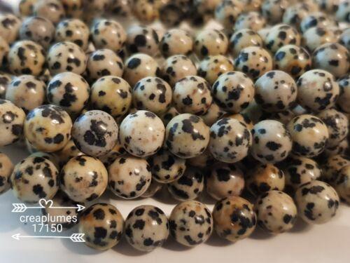 lot de 10 perles naturelles jaspe dalmatien    8mm