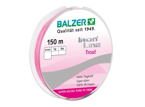 Forellenschnur für UL 150m pink 0,04mm // 0,06mm BALZER Iron Line Trout