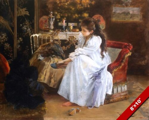 YOUNG WOMAN GETTING READY FOR THE EVENING SOIREE PAINTING ART REAL CANVAS PRINT