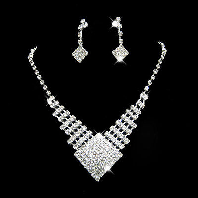 Shining Prom Wedding Bridal Jewelry Crystal Rhinestone Necklace Earring Sets New