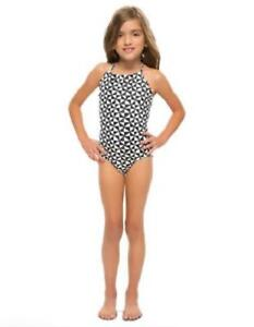 af0c2e8fc5 Vanilla Beach Girls' Black & White Stamp Print One-Piece Swimsuit ...