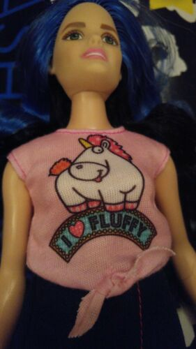 PINK DESPICABLE ME UNICORN I Love Fluffy top Barbie doll NEW IN PACK