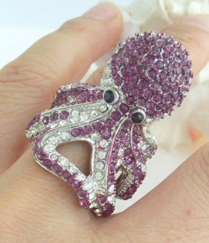 Unique Cocktail Octopus ring purple Austrian Crystal CR618C5