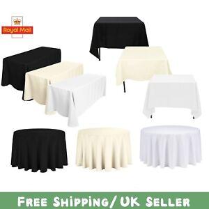 Polyester-Nappe-Housse-de-table-de-salle-a-manger-en-Tissu-Mariage-Fete-Noir-Blanc-Ivoire