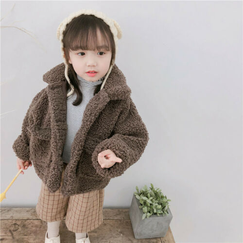 Toddler Baby Kids Girls Cotton Thick Fur Top Winter Warm Jacket Coat Outerwear
