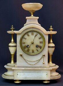 C 19ème Belle Horloge Pendule à Colonnes 32cm Albâtre époque Louis Philippe Acheter Un En Obtenir Un Gratuitement