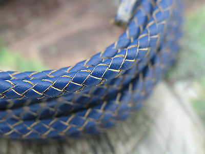 2 /10Yd 5.0mm Round Royal Blue Bolo Braided Real Leather Cord Beading Bracelets