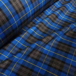 Royal-Blue-Grey-amp-Black-Poly-Viscose-Tartan-Yellow-Grid-Fabric-Per-Metre
