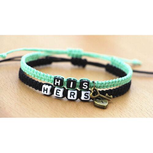 2Pcs couple Bracelets Son Hers Bracelets lock and key charms Bracelet Bracelet