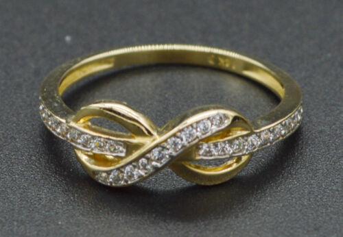 14K Yellow Gold Created Round Diamond Infinity Ring RM18