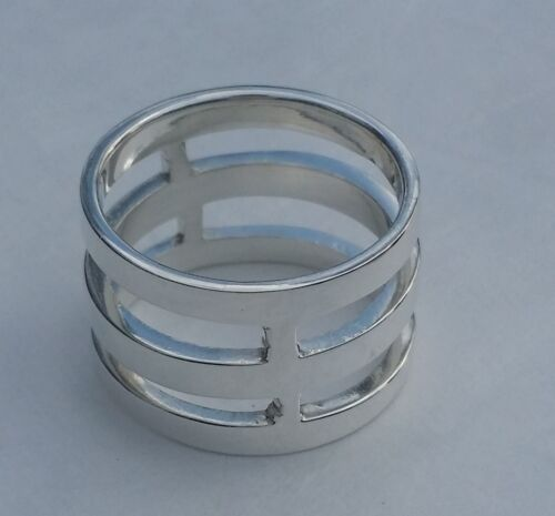 """Solide Argent Sterling 925 3 Couche Cuff Ring 0.5/"""""""