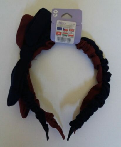 Navy Blue Burgundy. Pack X2 Material Bow Headband