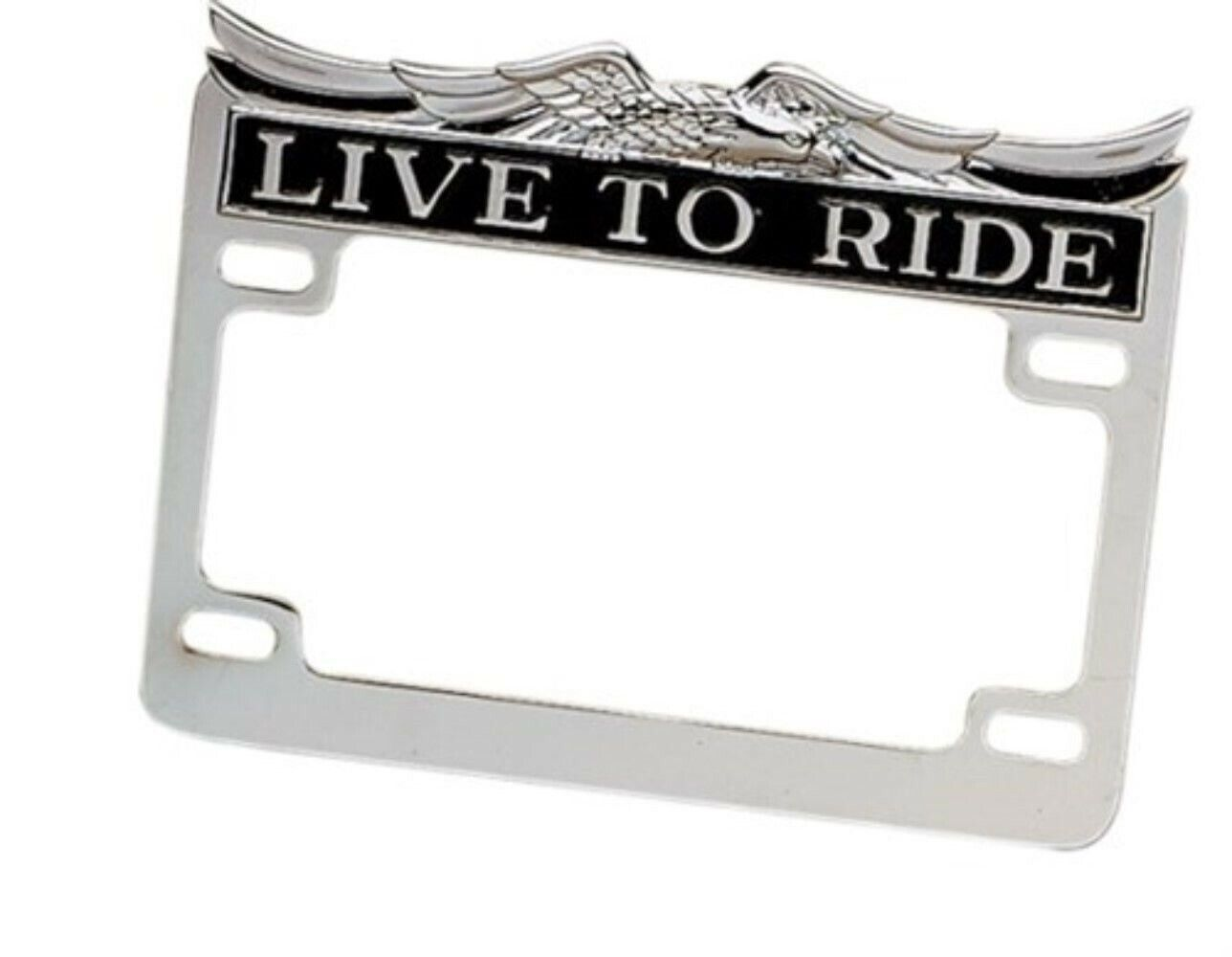 LIVE TO RIDE BLK CHROME 3D AMERICAN EAGLE TOP MOTORCYCLE LICENSE PLATE FRAME