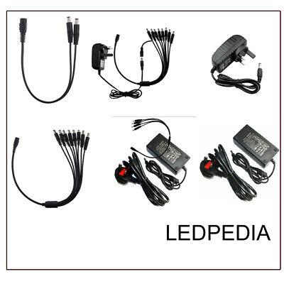 4-Splitte Power Supply Cord For LED 5050 3528 Strip Light Global 12V AC Adapter