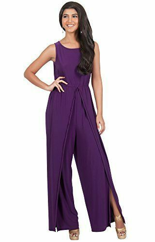Purple Jersey Sleeveless Jumpsuit in Size 2 or Small Wide Slit Leg by Koh Koh
