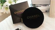 CHANEL Nuit Byzantine Velvet Black Gold Round Makeup Case Cosmetic Bag w/Box NEW