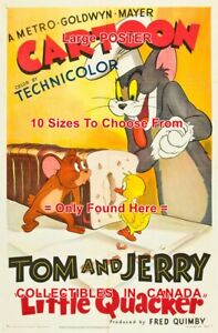 LITTLE-QUACKER-1950-Tom-And-Jerry-CARTOON-Cat-MOUSE-POSTER-10-Sizes-18-034-4-5-FT
