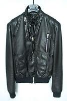 SS07 DIOR HOMME Black Leather Biker Bomber Jacket 44 Hedi Slimane RARE