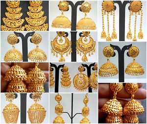 Earrings-22K-Gold-Plated-Indian-Designer-Variation-Different-party-Jhumka-b