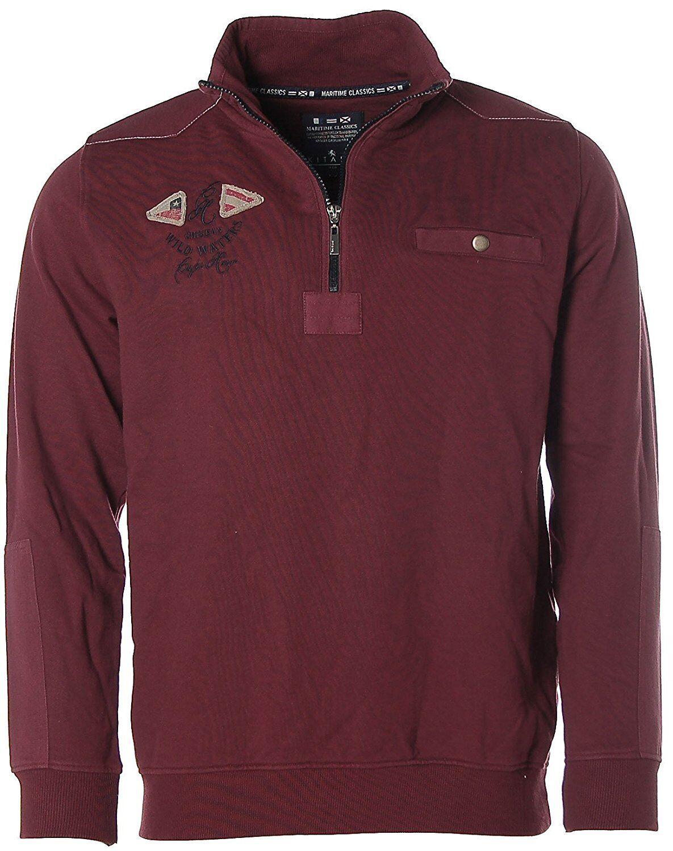K7876 Kitaro Herren Sweatshirt Sweater Troyer -Wild Waters- Zinfandel ROT M