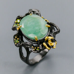 Emerald-Ring-Silver-925-Sterling-Vintage-SET-Size-7-R137003