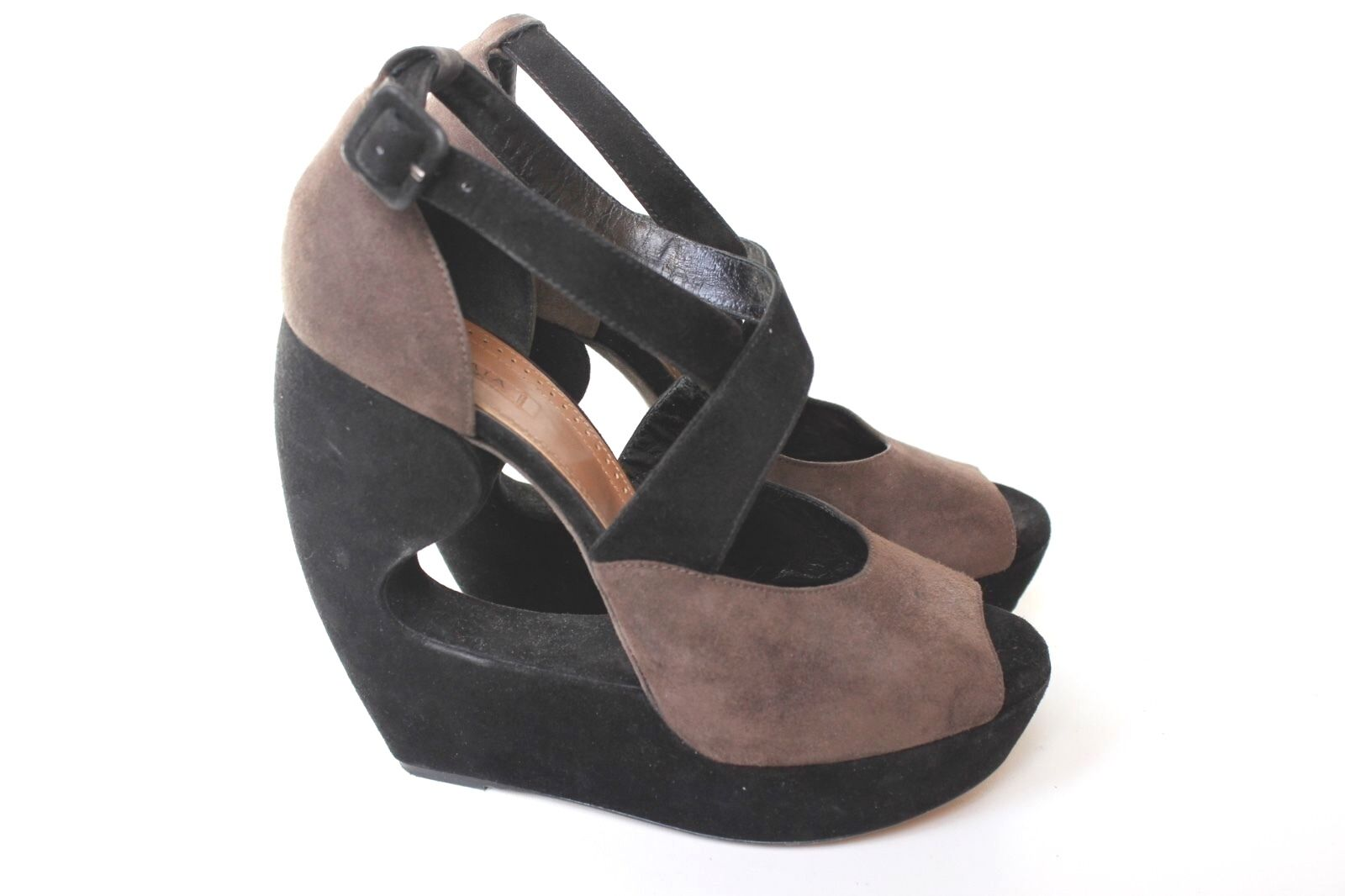 Alaia Black Brown Suede Cut Out Wedge Heels 40 uk 7
