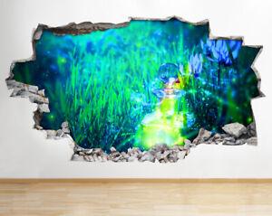 Q522 Fairy Cartoon Kids Bedroom Smashed Wall Decal 3D Art Stickers Vinyl Room