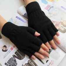 Stretch Knitted Gloves Men Women Fingerless Winter Warmer Mittens Black PAIR