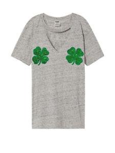faa0f038eeb5d4 Victoria s Secret PINK Holiday St Patty s IRISH BLING Campus T-Shirt ...