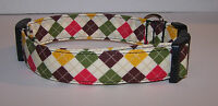 Wet Nose Designs Fall Argyle Dog Collar Diamonds Red Green Gold Brown Harvest
