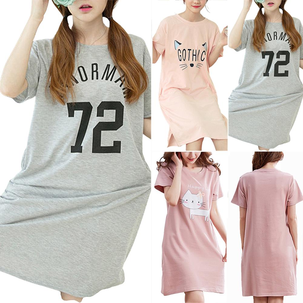 Damen Katze Gedruckt Sommer Nachthemd Trägershirts Lose Minikleid Nachtwäsche