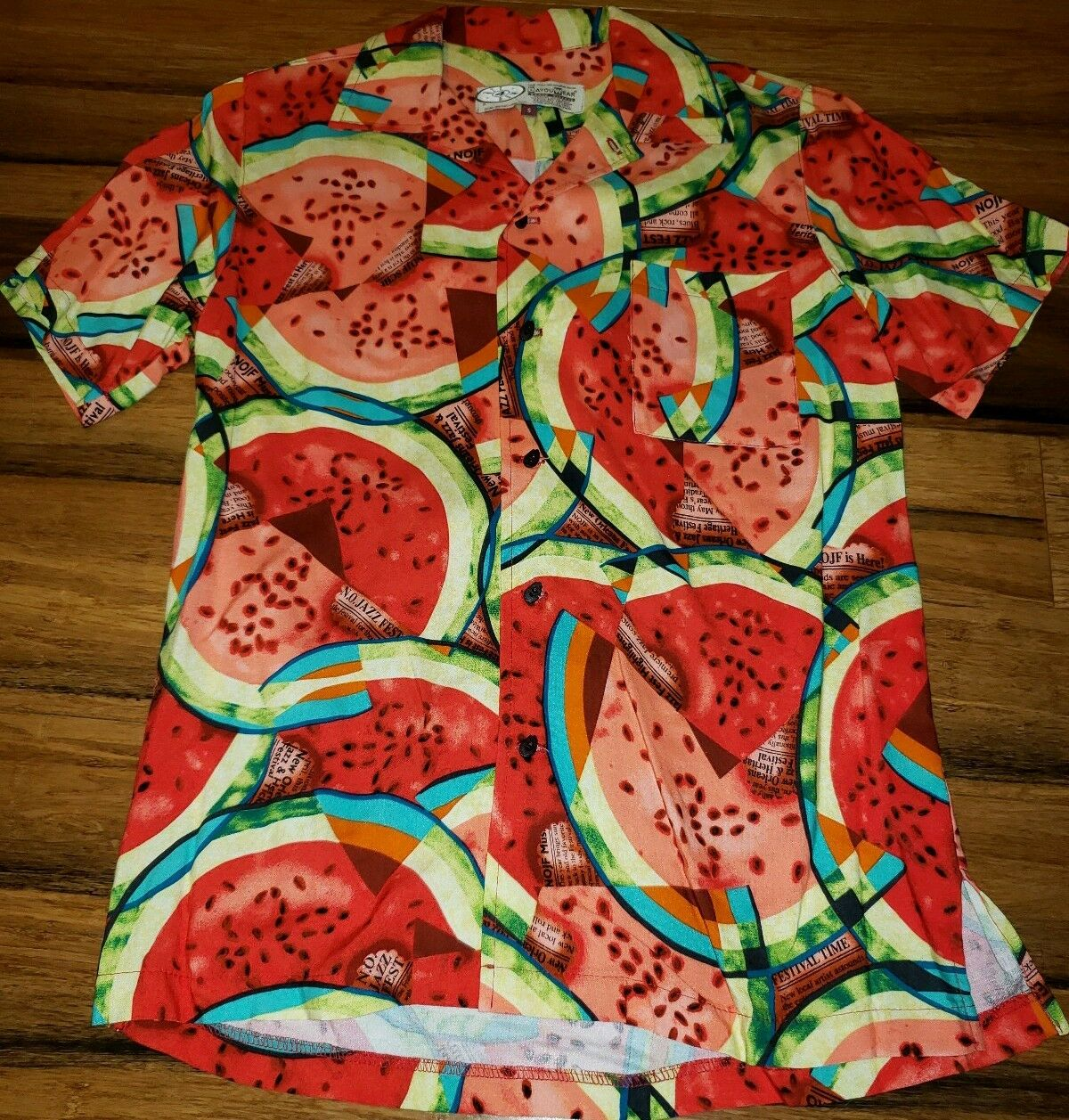 Bayou Wear Art 4 Now Men's What A Melon Shirt M 2014 Jazz Fest New Orleans small