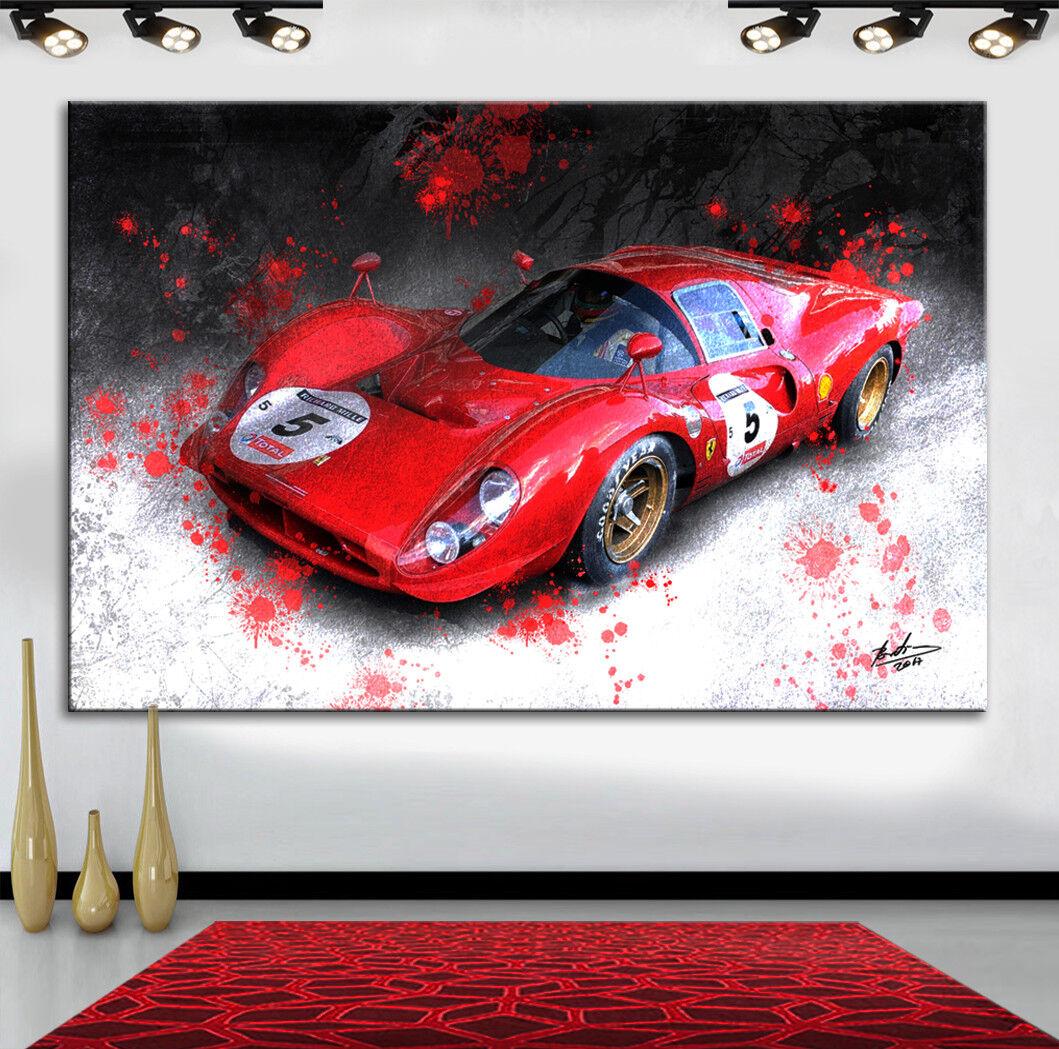 Ferrari Rennwagen Sportwagen Auto Abstrakt Bilder auf Leinwand Wandbild XL 2398A