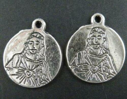 30pc B44 Tibetan Silver Saint Coin Pendants 21x18x1.5mm