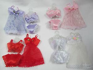 BARBIE-DOLLS-CLOTHING-LACE-LINGERIE-UNDERWEAR-BRA-KNICKERS-BABYDOLL-4-PIECE-SET