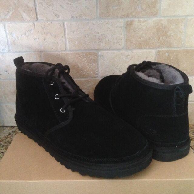 25070b367ab UGG Neumel Black Suede Sheepskin Chukka Ankle Boots Shoes Size US 9 Mens NIB