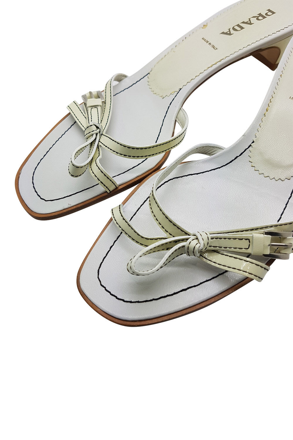 PRADA Weiß STRAPPY AND CREAM LOW HEELED STRAPPY Weiß SANDALS (38.5) 3d3bdb
