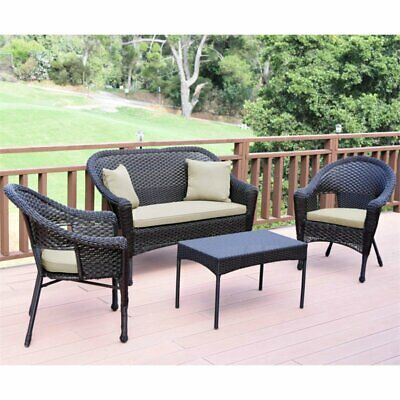 Jeco Wicker Patio Love Seat and Coffee Table Set with Brown Cushion Black