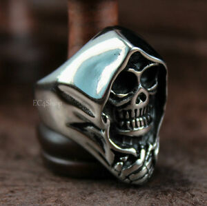 Men/'s Skull Grim Reaper Anarchy 316L Stainless Steel Biker Ring Silver Black