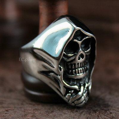 Mens Skull Grim Reaper Anarchy 316L Stainless Steel Biker Ring